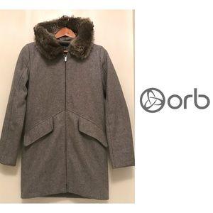Orb Light Grey Faux Fur Hooded Coat Jacket